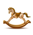 3d rocking horse golden marble on wood vector image