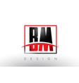 bm b m logo letters with red and black colors and vector image