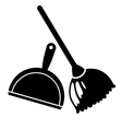 broom and dustpan icon vector image vector image