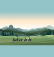 castle carriage knight mountains landscape rural vector image