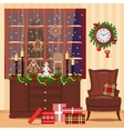 Christmas decorated room with armchair window vector image vector image
