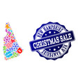 christmas sale composition of mosaic map of new vector image vector image