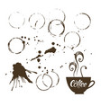coffee stains set vector image vector image
