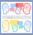 communication banner with people heads line vector image