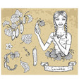 design set with beautiful woman holding cucumber vector image