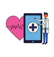 doctor smartphone heartbeat vector image vector image
