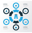dress colorful icons set collection of man vector image