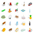 exotic vacation spot icons set isometric style vector image vector image