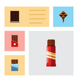 flat icon chocolate set of dessert bitter sweet vector image vector image