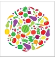 Fruit and vegetable circle background vector image