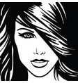 girl portrait monochrome vector image