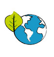 global earth planet with leaf symbol to vector image vector image