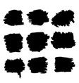 grunge black brush rough strokes set vector image