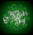 happy st patricks day lettering and clovers vector image
