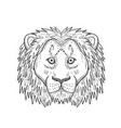 head a coward and scared lion front view black vector image