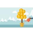 Human hand watering the money tree vector image