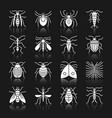 insect white silhouette with reflection icon set vector image vector image