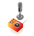 Isometric icons of microphone and radio vector image