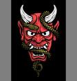 japanese mask a demon with a snake on a dark vector image vector image