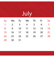 july 2018 calendar popular red premium for vector image vector image