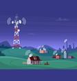 landscape wireless tower satelite antena mobile vector image