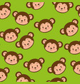 little cute monkey heads pattern vector image