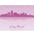 Long Beach skyline in purple radiant orchid