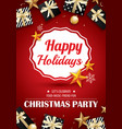 merry christmas party and gift box for flyer vector image vector image