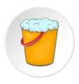 Orange bucket with foamy water icon cartoon style vector image vector image