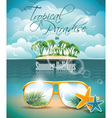 paradise island on clouds background vector image vector image