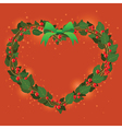 Red Green Wreath Bouquet heart ornament for vector image vector image