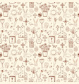 seamless pattern with easter doodle sketches in vector image