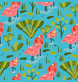 seamless pattern with flamingo forest pattern vector image vector image