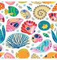 seamless pattern with underwater sea life vector image