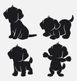 set of dog silhouettes cartoon with different pose vector image vector image