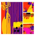 set of modern abstract contemporary painting in