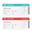 Set of the airline boarding pass tickets
