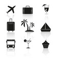 set of travel holiday reflection icons vector image vector image