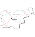 Slovenia Black White Map With Major Cities vector image