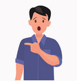 surprised man points to something element vector image vector image