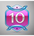 Ten years anniversary celebration silver logo with vector image vector image