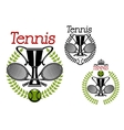 Tennis sport emblems with game items vector image vector image
