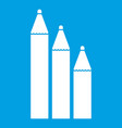 three pencils icon white vector image vector image