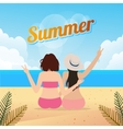 two young women sitting together on a sandy beach vector image vector image