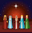 wise kings with mary and joseph manger characters vector image vector image