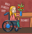 world disability day woman wheelchair concept vector image