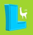 Letter L Animal Lama Animals Alphabet vector image