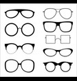 set of silhouettes sunglasses vector image