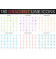 180 trendy color gradient style thin line icons vector image vector image