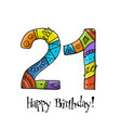 21th anniversary celebration greeting card vector image vector image
